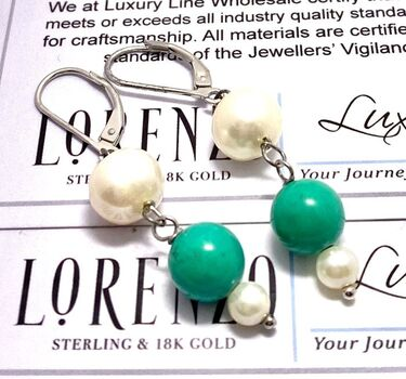 BUY NOW Authentic Lorenzo .925 Sterling Silver Genuine Pearl & Turquoise Earrings