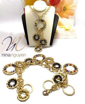 BUY NOW Designer Nina Nguyen 14k 1/20 Gold Filled Genuine Multicolor Stones Set of Bracelet & Necklace