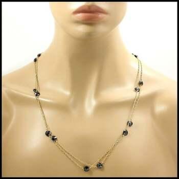 """BUY NOW Designer Nina Nguyen Lavish 14k Gold Filled, 61.50ctw Genuine Black Onyx """"Diamonds By The Yard"""" Necklace 90"""