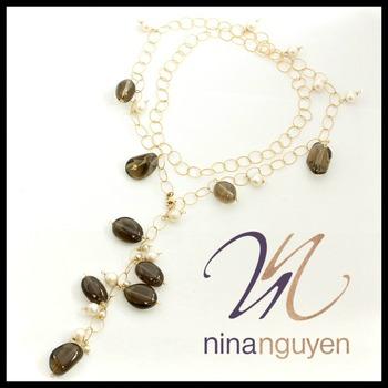 "BUY NOW Designer Nina Nguyen Smokey Quartz & Pearl 14k Gold Filled  36"" Necklace"