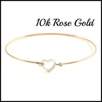 BUY NOW Solid 10k Rose Gold, 0.06ctw Genuine Diamond Bangle Bracelet