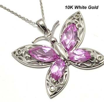 BUY NOW Solid 10k White Gold, 0.02ctw Genuine Diamond & 3.25ctw Pink Topaz Necklace