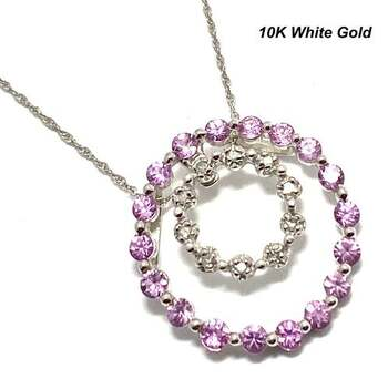 BUY NOW Solid 10k White Gold, 0.05ctw Genuine Diamond & 1.0ctw Pink Topaz Necklace