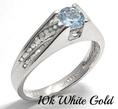 BUY NOW Solid 10k White Gold, 0.25ctw Genuine Diamond & 0.60ctw Blue Topaz Ring Size 8