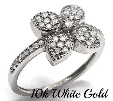 BUY NOW Solid 10k White Gold, 0.33ctw Genuine Diamond Ring Size 7