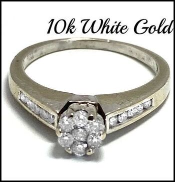 BUY NOW Solid 10k White Gold, 0.40ctw Genuine Diamond Engagement Ring Size 8