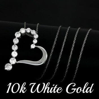 BUY NOW Solid 10k White Gold, 1.0ctw Genuine Diamond Heart Shape Necklace