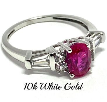 BUY NOW Solid 10k White Gold 1.50ctw Pink Tourmaline and White Sapphire Ring sz 7