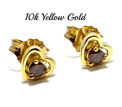 BUY NOW Solid 10k Yellow Gold, 0.11ctw Genuine Chocolate Diamond Stud Earrings