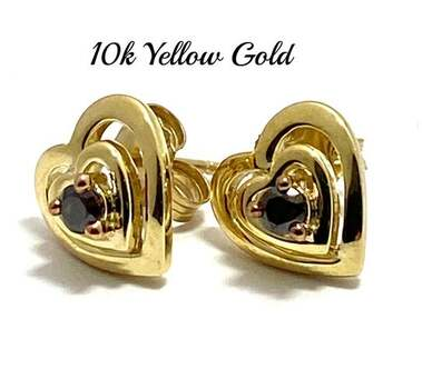 BUY NOW Solid 10k Yellow Gold, 0.13ctw Genuine Chocolate Diamond Stud Earrings