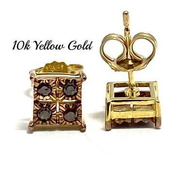 BUY NOW Solid 10k Yellow Gold, 0.20ctw Genuine Chocolate Diamond Stud Earrings