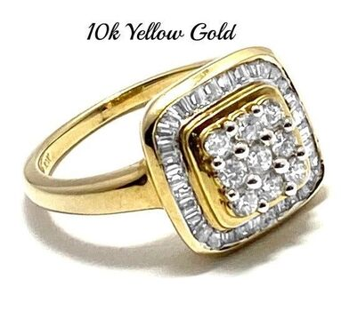 BUY NOW Solid 10k Yellow Gold, 0.50ctw White Sapphire Ring Size 7