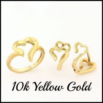 BUY NOW Solid 10k Yellow Gold Set of Ring & Earrings