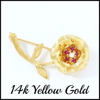 BUY NOW Solid 14k Yellow Gold, 0.07ctw Genuine Diamond &  0.35ctw Ruby Antique 1940's Brooch