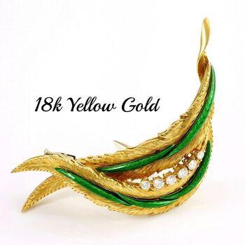 BUY NOW Solid 18k Yellow Gold, 0.70ctw H/VS2-SI1 Diamond Enamel Pin Brooch