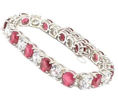 BUY NOW Solid .925 Sterling Silver, 15.50ctw Ruby & 16.0ctw White Topaz Bracelet