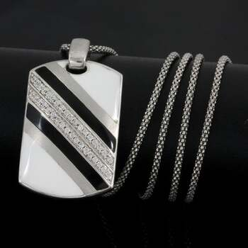 BUY NOW Solid .925 Sterling Silver & White Gold Plated, 0.36ctw AAA Grade CZ's & Black&White Enamel Necklace