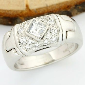 Bvlgari - 18kt/750 White Gold - 0.45 ct Round/Princess Cut Diamond, Ring; Size: 5