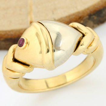 Bvlgari - 18kt/750 Yellow and White Gold - 0.02 ct Round Cut Ruby, Ring; Size: 4.75