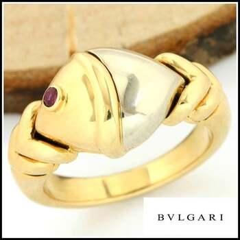 BVLGARI Gold 18k Two Tone with Diamond and Ruby Naturalia Fish Ring