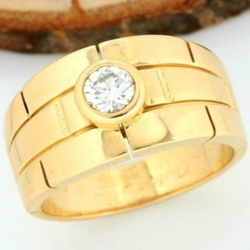 Cartier 18kt Yellow Gold 0.42ct Round Cut Diamond, Ring; Size: 6.50