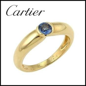 Cartier Semi Bezel 18k Yellow Gold 0.20ct Sapphire Band Ring - Size 5.5