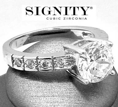 "Celebrity Jewelry Collection .925 Sterling Silver, 4.25ctw ""SIGNITY STAR"" Cubic Zirconia  Ring Size 7"