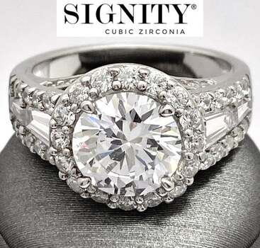 """Celebrity Jewelry Collection .925 Sterling Silver, 7.25ctw """"SIGNITY STAR"""" Cubic Zirconia  Ring Size 6"""