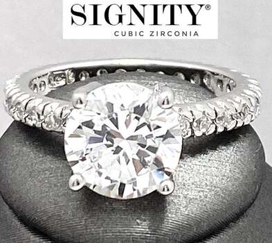"""Celebrity Jewelry Collection .925 Sterling Silver, 8.00ctw """"SIGNITY STAR"""" Cubic Zirconia  Ring Size 7"""
