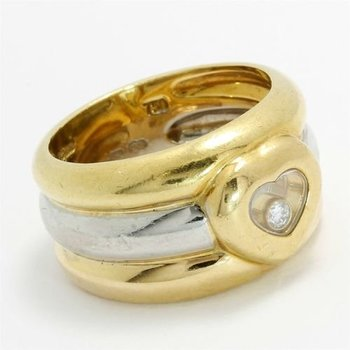 Chopard Happy Diamonds Solid 18k Tri-Color Gold 12mm Wide Heart Band Ring size 6 3/4