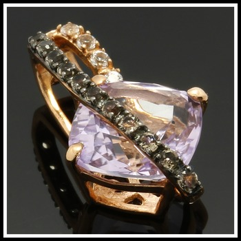 Designed by Enzo  Solid 10k Rose Gold, 1.85ctw Genuine Amethyst, White & Smoky Topaz Pendant