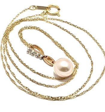 Designed by Enzo  Solid 10k Rose & Yellow Gold, Genuine Cream Pearl & White Topaz Necklace