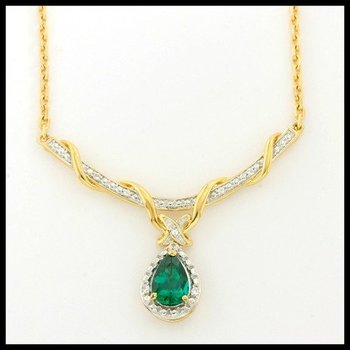 Designer Authentic ColoreSG by Lorenzo Solid .925 Sterling Silver, 1.27ctw Emerald & White Sapphire Necklace