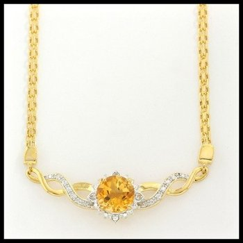 Designer Authentic ColoreSG by Lorenzo Solid .925 Sterling Silver, 1.78ctw Citrine & White Sapphire Necklace