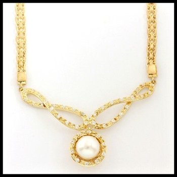 Designer Authentic ColoreSG by Lorenzo Solid .925 Sterling Silver, 3.45ctw Freshwater Pearl & White Sapphire Necklace