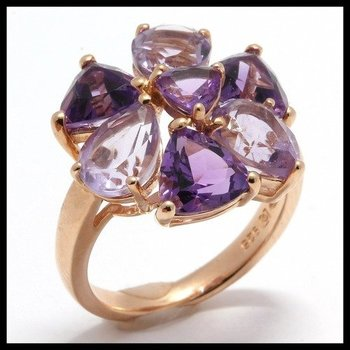 Designer Authentic ColoreSG by Lorenzo Solid .925 Sterling Silver, Genuine Amethyst & Lavender Topaz Ring sz 6 3/4