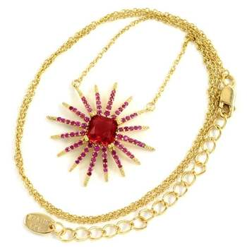Designer KLEO Solid .925 Sterling Silver with Yellow Gold Overlay, 3.25ctw Ruby Necklace