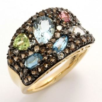 Designer Lorenzo Solid 10k Yellow Gold, Genuine Multicolor Gemstones Ring size 7 FREE Gift - Silver Necklace