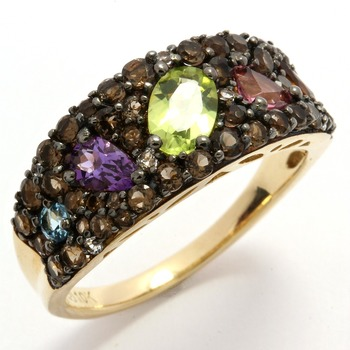 Designer Lorenzo Solid 10k Yellow Gold, Genuine Multi-color Stones Ring size 7