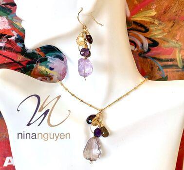 Designer Nina Nguyen 14k 1/20 Gold Filled 160.00ctw Genuine Amethyst & Multicolor Stones Set of Earrings & Necklace