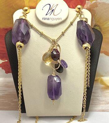 Designer Nina Nguyen 14k 1/20 Gold Filled Genuine Amethyst, Champagne & Smokey Quartz Set of Earrings & Necklace