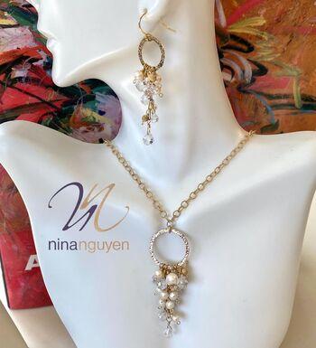 Designer Nina Nguyen 14k 1/20 Gold Filled Genuine Pearls & Genuine White Topaz Set of Earrings & Necklace