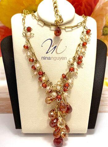 Designer Nina Nguyen 14k Gold Filled Genuine Garnet & Champagne Topaz Necklace