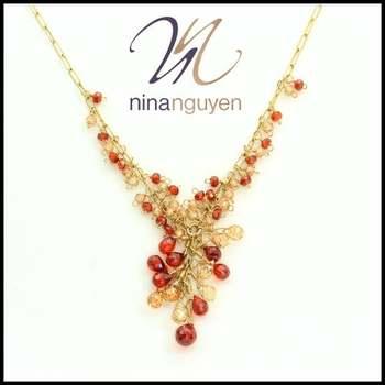 Designer Nina Nguyen 14k Gold Filled Genuine Garnet Necklace