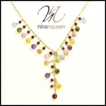 Designer Nina Nguyen 14k Gold Filled Genuine Multicolor Gemstones Necklace