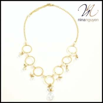 Designer Nina Nguyen 14k Gold Filled Hammered Circles, Joined with Swarovsky Crystals & Freshwater Pearls Necklace