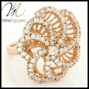 Designer Nina Nguyen 18k Rose Gold Filled & White Topaz Flower Ring Size 8