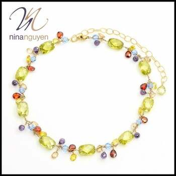 """Designer Nina Nguyen Attraction Rainbow Necklace 16"""" with 5"""" Extender - 14k Gold Filled"""