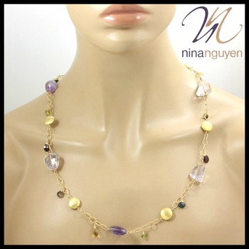 "Designer Nina Nguyen Multi Gemstone Necklace 34"" 14k Gold Filled"