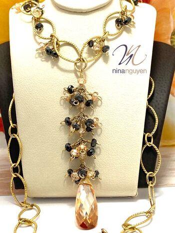 Designer Nina Nguyen Necklace with Genuine Champagne Topaz & Black Spinel 14k Gold Filled